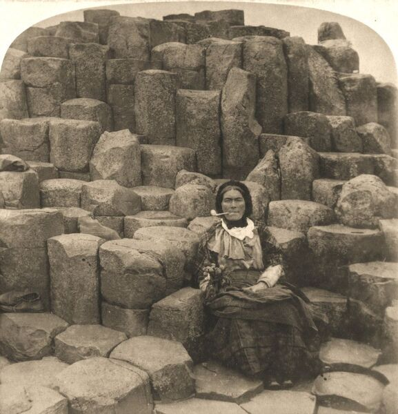"'The Wishing Chair, Giant's Causeway, Ireland', 1897. From ""Underwood and Underwood Publishers, New York-London-Toroto Canada-Ottawa Kansas."""