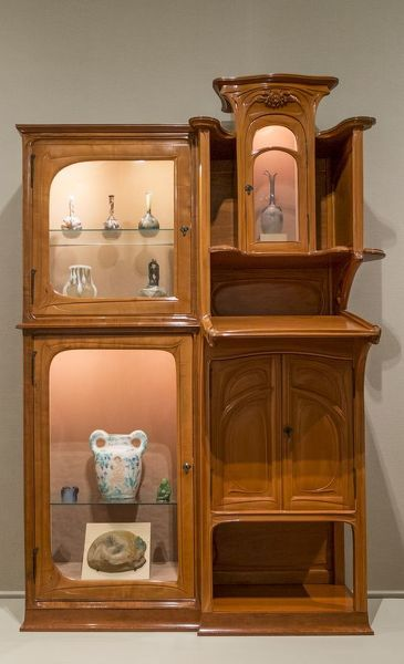 Writing Desk-Bookcase, 1900-05. Hector Guimard, 1867-1942, Pearwood with velvet and glass