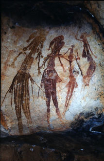 Aboriginal rock painting of a group of Bradshaw figures