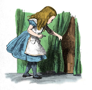 alice wonderland/alice looking small door curtain 1889 artist