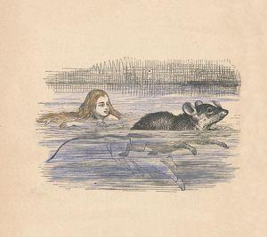alice wonderland/alice swimming mouse pool 1889 artist john