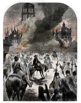 burning st pauls cathedral great fire london c1902