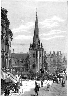 Church of St Martin in the Bull Ring, Birmingham, West Midlands, 1887. Artist: Unknown
