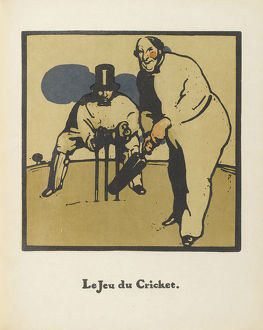 sporty/cricket game almanach douze sports 1898 artist