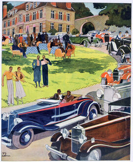 sport/departure automobile rally 1931 artist guy