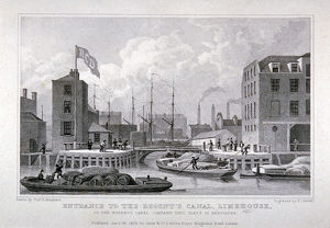 Entrance to Regent's Canal Dock, Limehouse, London, 1828