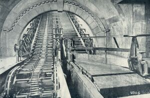 'An Escalator in Course of Construction', 1922. Creator: Unknown