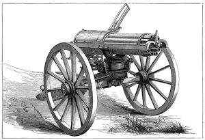 gatling rapid fire gun 1870 artist anon