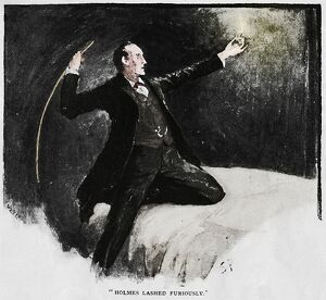 'Holmes Lashed Furiously', 1892. Artist: Sidney E Paget.
