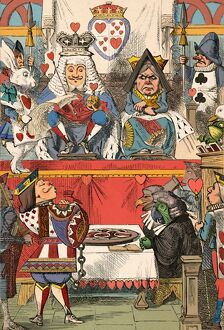 alice wonderland/the king queen hearts court 1889 artist john