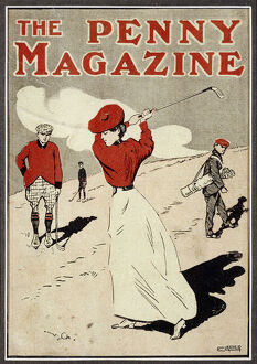 sport/lady golfer taking swing cover the penny magazine