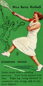 'Miss Betty Nuthall - Standing Smash', c1935. Creator: Unknown