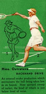 'Mme. Outratova - Backhand Drive', c1935. Creator: Unknown