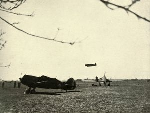'Morane 406 at Vassincourt Aerodrome with French Curtiss Hawk and Hurricane&#39