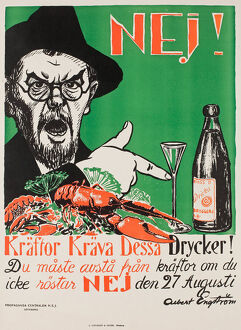 No! Crayfish require these drinks!, Swedish anti-Prohibition poster, 1922.