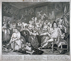 'Revelling with Harlots', plate III of A Rake's Progress, 1735