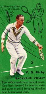 'V. G. Kirby - Backhand Volley', c1935. Creator: Unknown