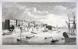 View near Limehouse Bridge, London, looking down the River Thames, 1751