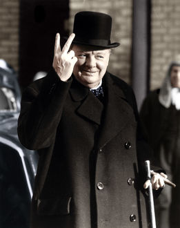 best british/winston churchill making famous v victory sign 1942