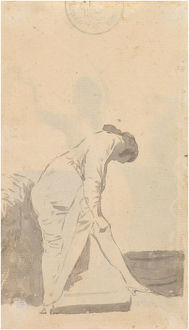 Young man stretching his stocking (from the Madrid Album), c. 1795