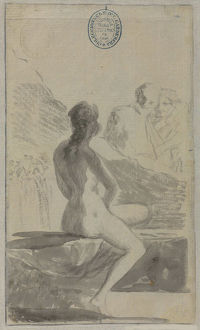 Young woman at the Well (Susanna and the Elders?) from the Madrid Album , 1795